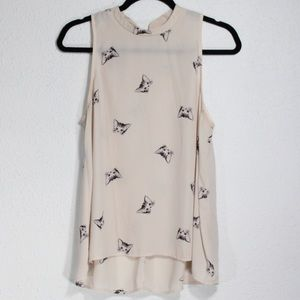 Everly Cream Color Sleeveless Cat Blouse Size XL
